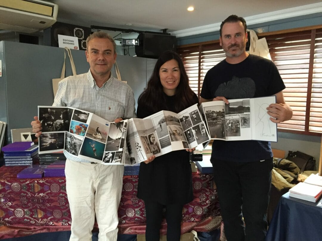 ED TEMPLETON and DEANNA with me with the book: « Adventures in the nearby far away » at POLYCOPIES Boat, see you tomorrow ?