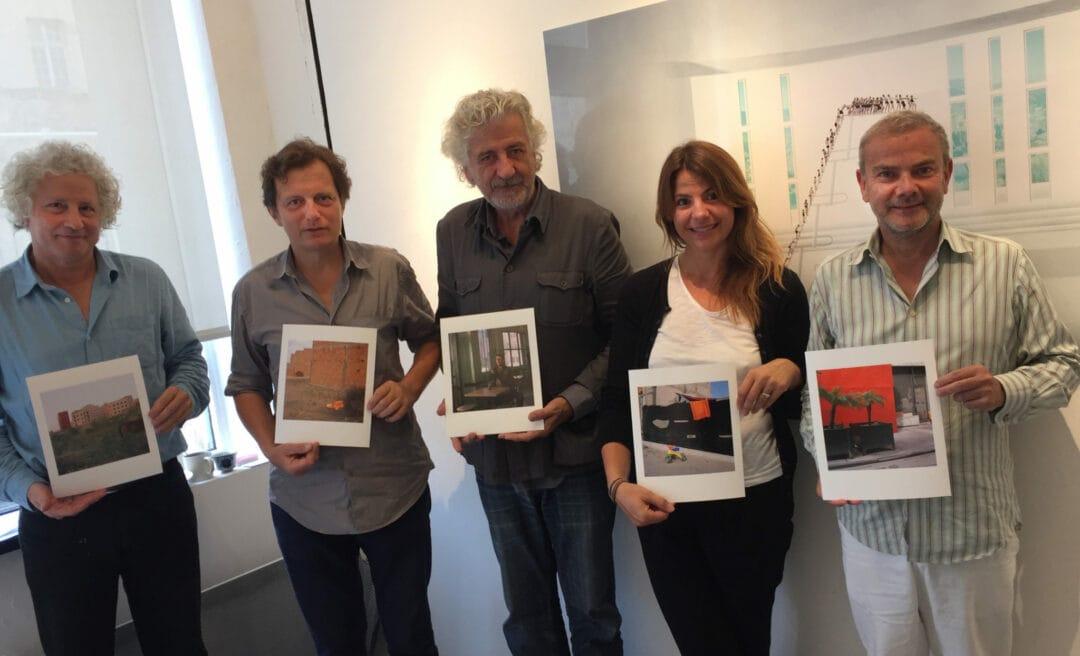 Jury's members of La Bourse du Talent 2016 after deliberation, with François Hébel Pierre Bessard Adelie Genestar de Ipanema Laurent Monlaü and the philosopher, this morning in Le Marais – Paris.