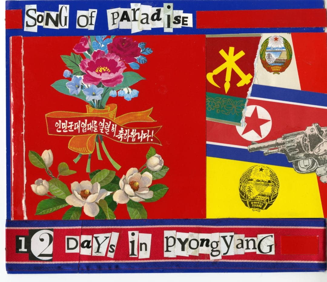 North Korea, «The Benevolent Sun», a book to come soon by Pierre Bessard, design by Sybren Kuiper (Works 1990-2015) a mixt of collages, assemblage of movies interviews, a journal, paintigs (acrylic, oil painting) panoramics pictures in B&W, colours pictures etc ..perhaps ill come again just for close definitely this one in end of the year… Editions Bessard
