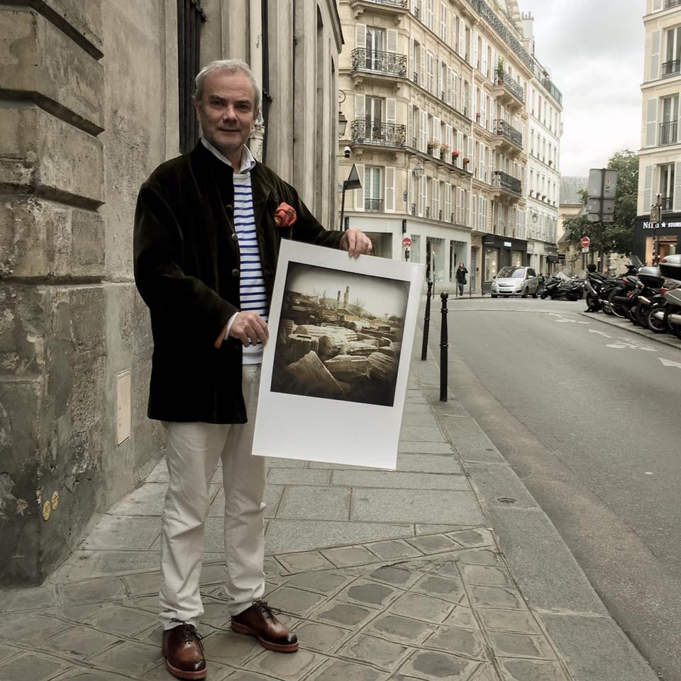 Thanks to Stefano de Luigi: With my publisher Pierre Bessard Pierre Bessard in the Marais, this morning, en route to the framer. iDyssey the book will be snown at Paris Photo there will be a signature and a talk. More news coming soon