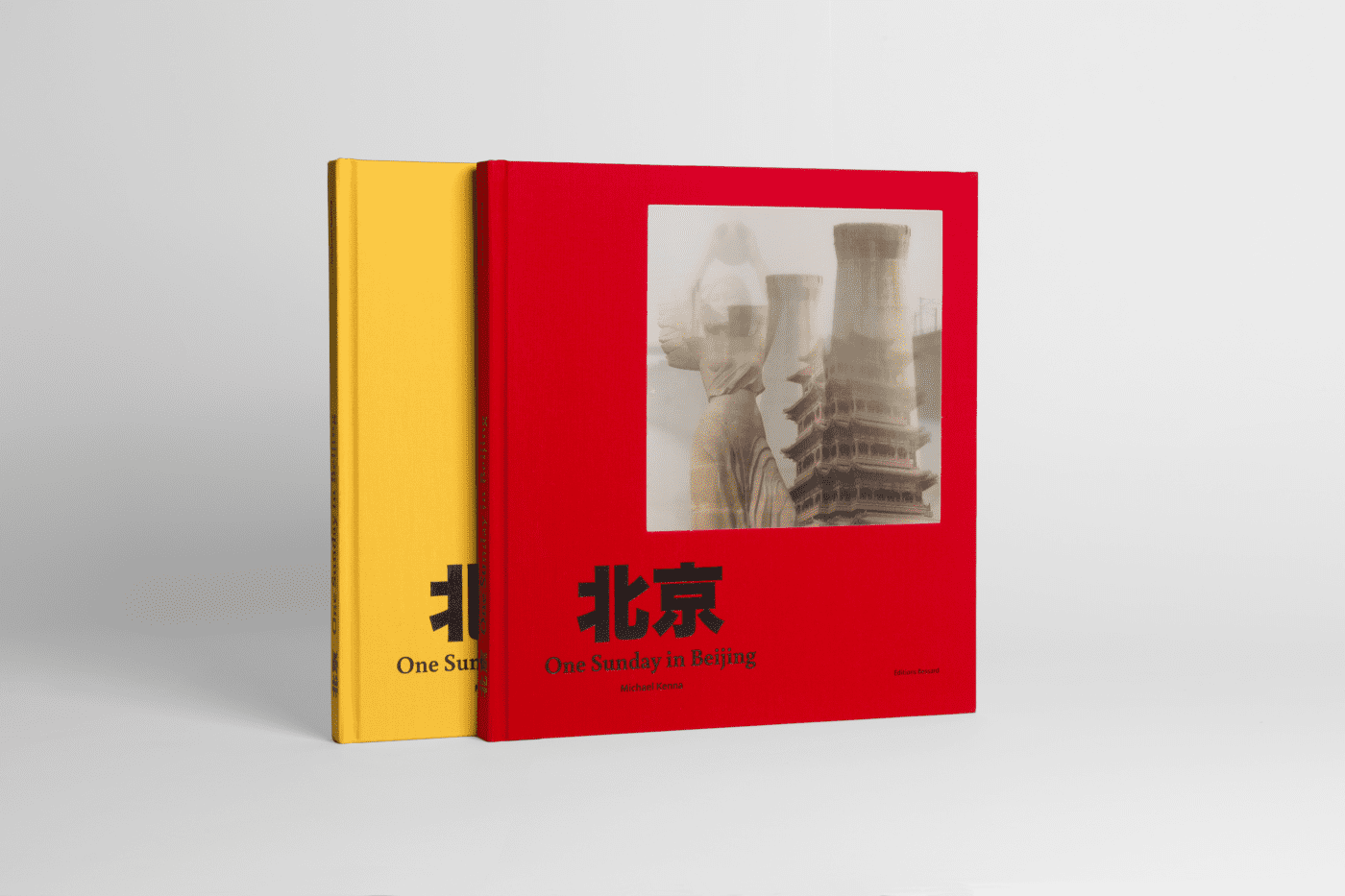 #MichaelKenna, #OneSundayInBeijing (mon hommage à #ChrisMarker Un dimanche à Pékin) Limited Edition of 700 copies, 350 with a yellow cover, 350 with a red cover, each with a lenticular cover and a 18cm x 19cm colour c-print enclosed in the book (souvenir of Beijing from the artist); Note that each colour will come with a different print.Size book 290mm X 310 mm #HappyPublisher Photo by the designer of the book @JoannaStarck text Fabien Ribery & Pierre Bessard